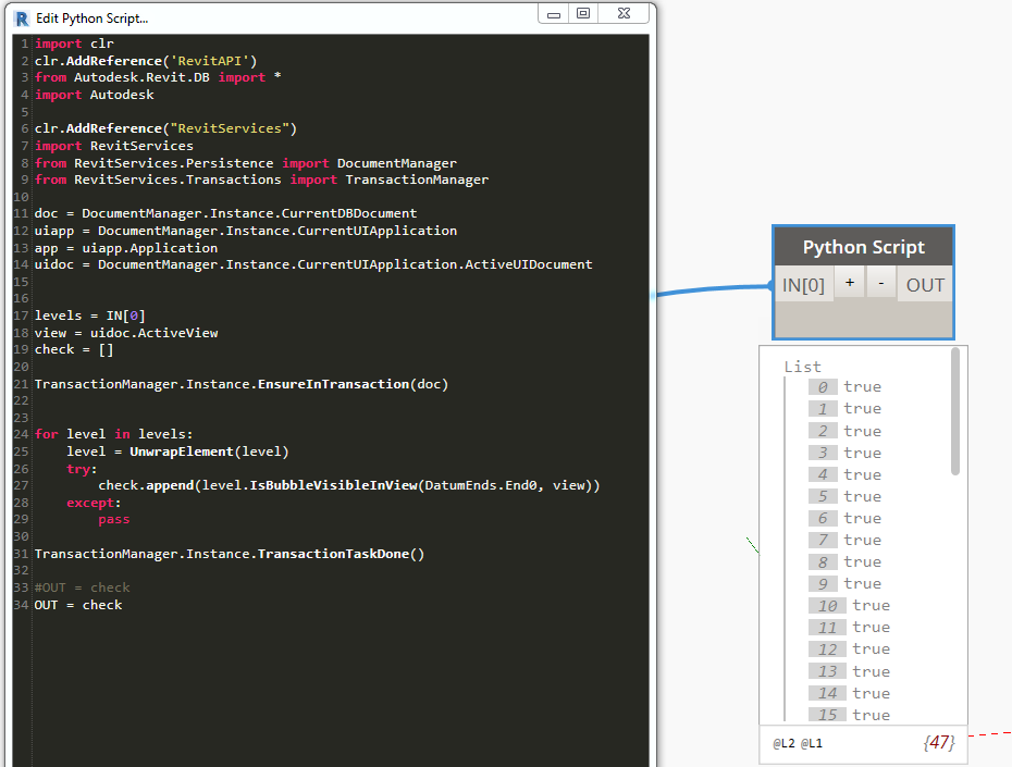 Hiding and Showing the Bubble on Level heads - python - Dynamo