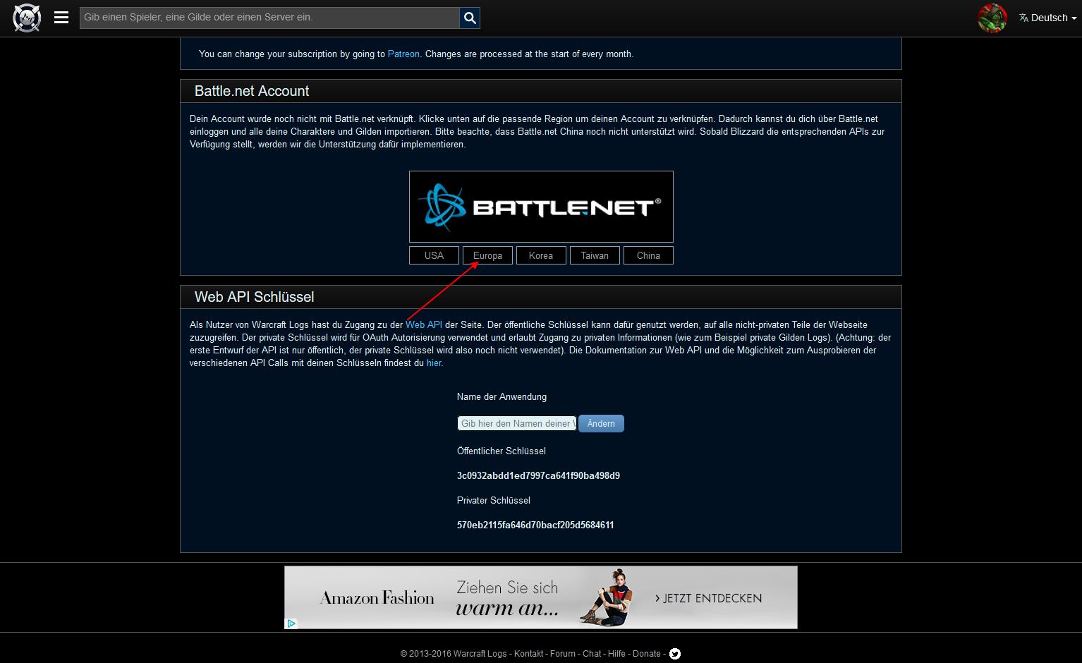 Error then i will be link my account with Battelnet - Warcraft Logs