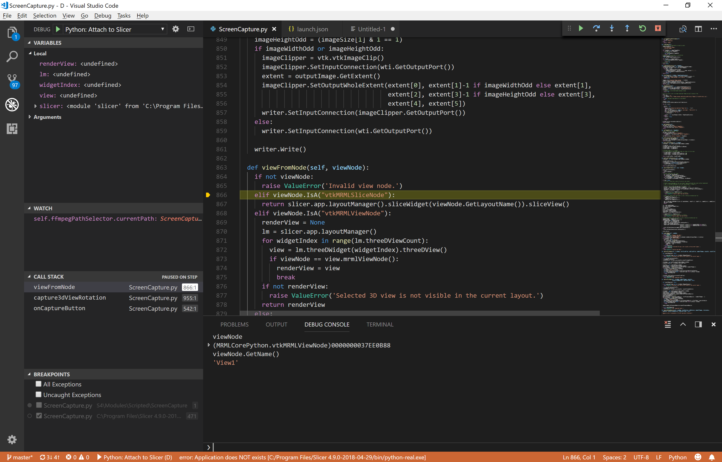 Screenshot of a debugging session