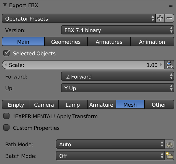 How to import an  fbx object from Blender - Questions - three js