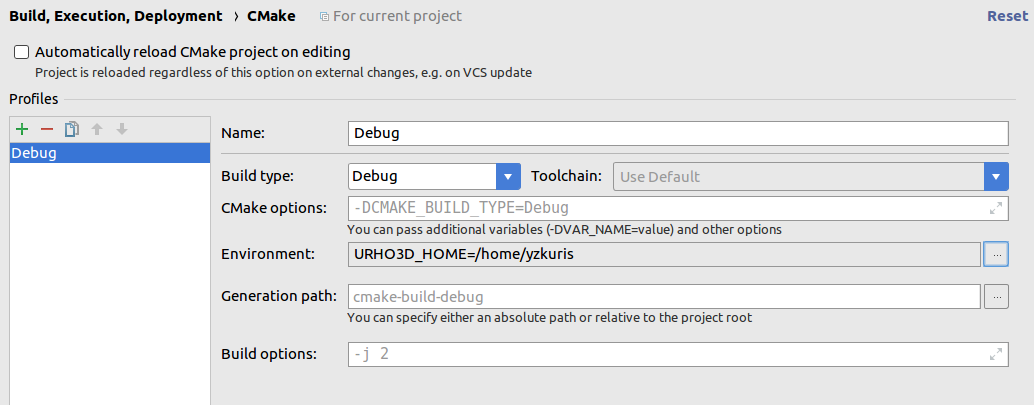 Compile a project with cmake in Clions IDE - Support - Urho3D
